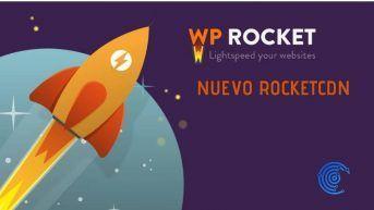 Logo de WP Rocket que es un cohete despegando de la tierra
