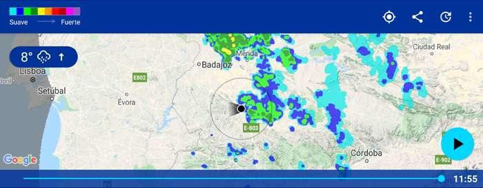 Alarma de lluvias para el móvil