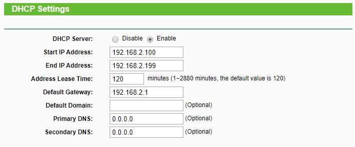 Configuarción DHCP del router secundario
