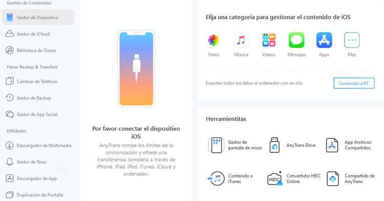 Gestor de Dispositivo en Anytrans para iOS