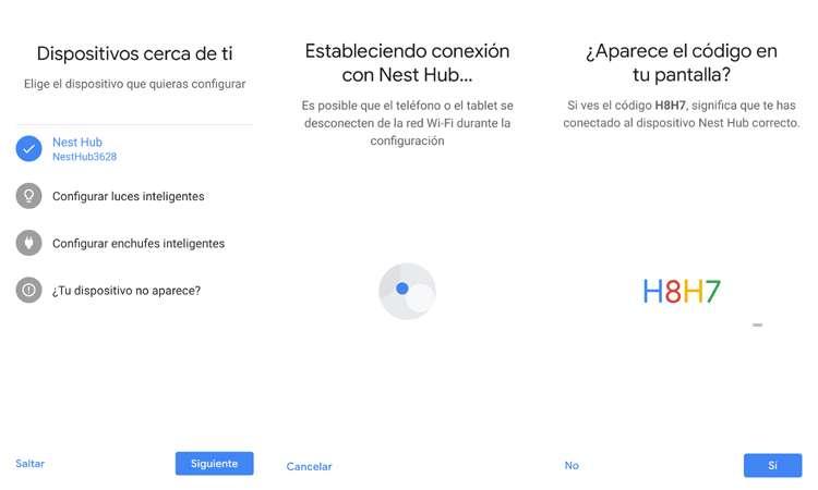 emnparejando el Google Nest Hub a Google Home