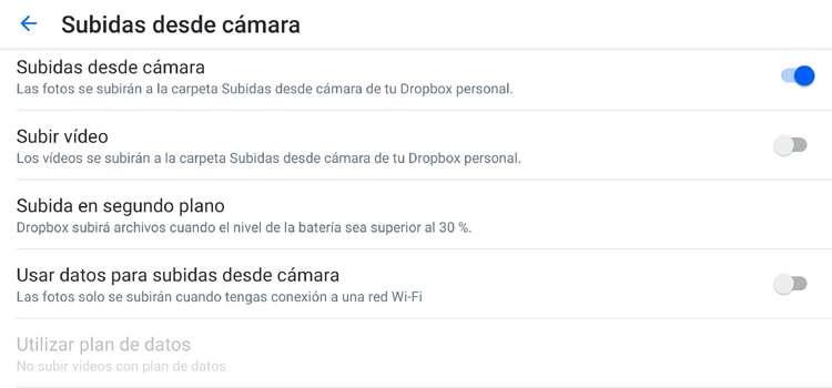 Configurar copia de seguridad de fotos en dropbox