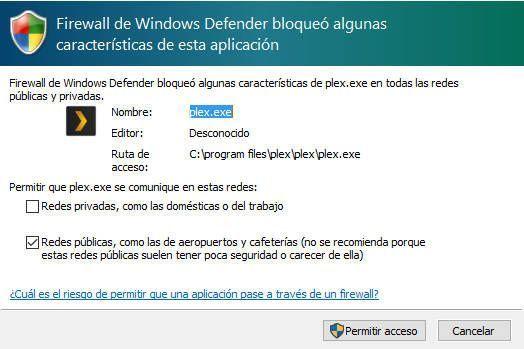Añadir una excepción al firewalld e windows para utilizar Plex