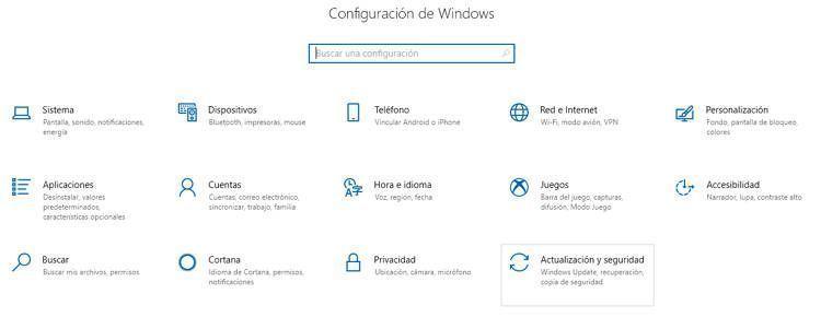 Pantalla de la configuración de Windows 10