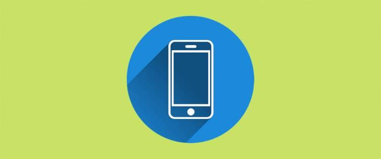 dibujo de un móvil dentro de un círculo azul de Wp Rocket