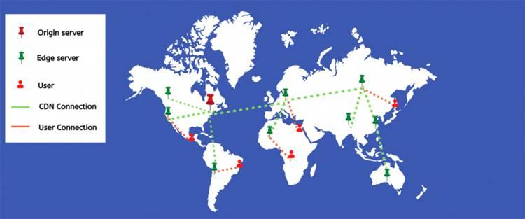 mapa con la localización de los pods de rocketCDN