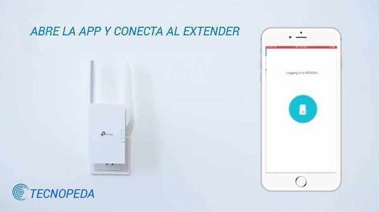 Imagen de un móvil conectando la aplicación de Tp Link al Extender