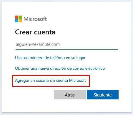 Selecciona la opción de agregar un usuario sin cuenta Microsoft