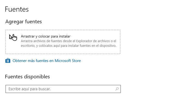 Agregar fuentes en Windows 10 desde la configuración del sistema