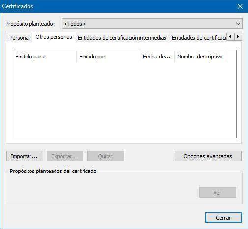 Si accedes a las opciones de privacidad del navegador los certificados han sido eliminados