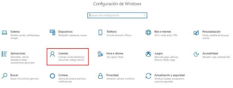 Acceder a la opción de cuentas de usuario en Windows 10 desde la configuración