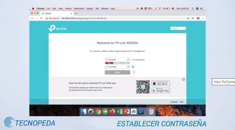 Pantalla del navegador de internet donde se conecta un extender