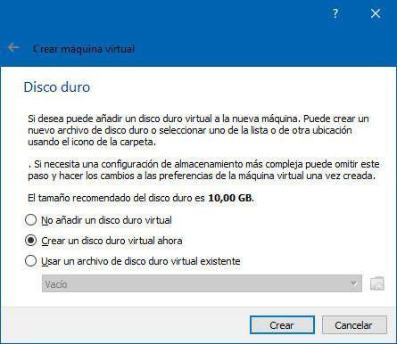 Puedes crear un disco duro virtual