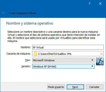 Crear una máquina virtual de Windows XP en el ordenador