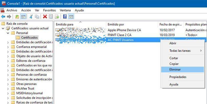 Marcamos Certificados Personales y utilizamos la opción de Elimnar certificados digitales
