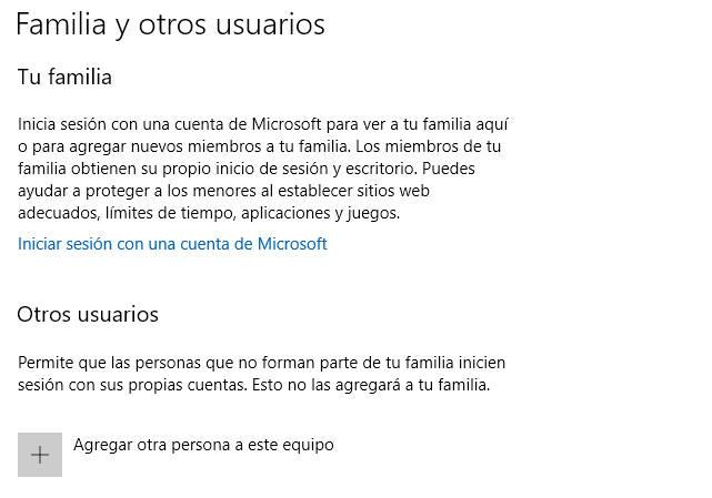 Dentro de las Cuentas de usuario en Windows 10 tienes varias opciones
