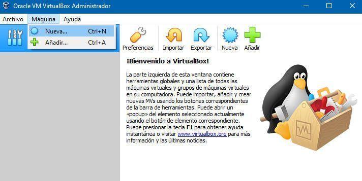 Añadir una nueva máquina virtual a nuestro ordenador