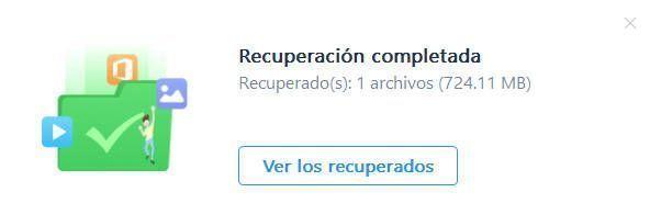 Recuperación de archivos borrados completada con éxito