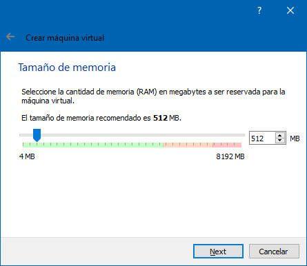 Selecciona la memoria ram de la unidad virtual