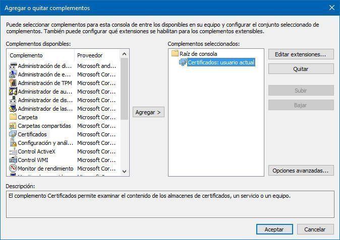 Certificado usuario actual y aceptamos para acceder a Eliminar Certificados Digitales en Windows