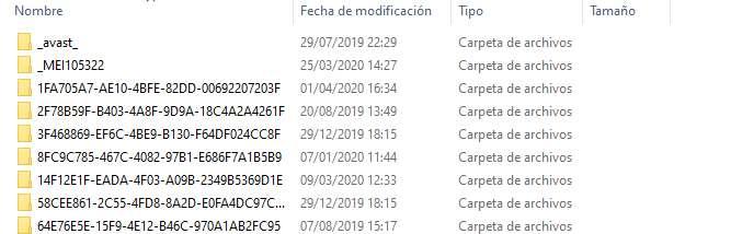Carpeta de archivos temporales de Windows 10