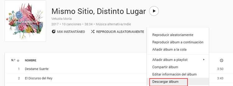 Descargar un disco desde Google Play Music