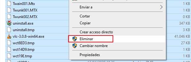 Seleccionar todos los archivos de la carpeta Temp y eliminarlos para limpiar toda la caché de Windows 10