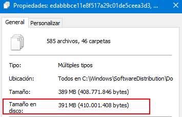 Tamaño de los archivos almacenados en le disco de la unidad C