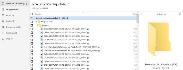 Vista previa de la recuperación de archivos borrados en una SD