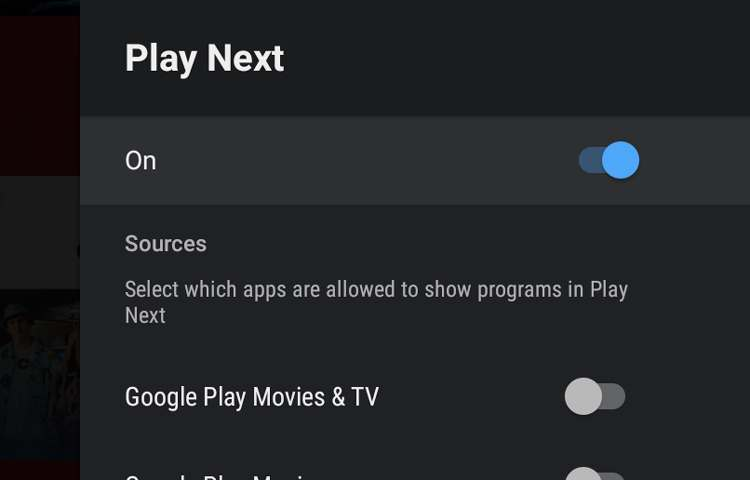 Pantalla para activar la opción de Play next en un Android Tv