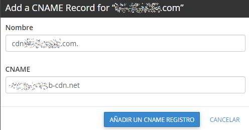 Añadir el registro Cname