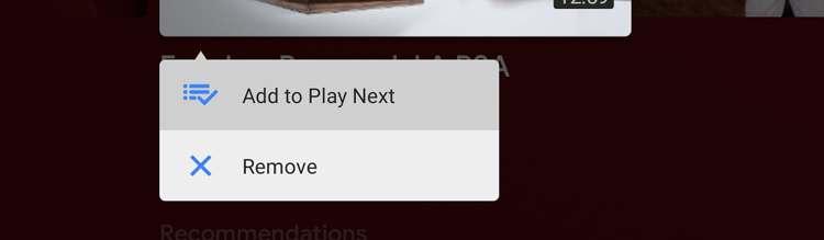 Ventana emergente que muestra la opción para añadir a reproducir después en android tv