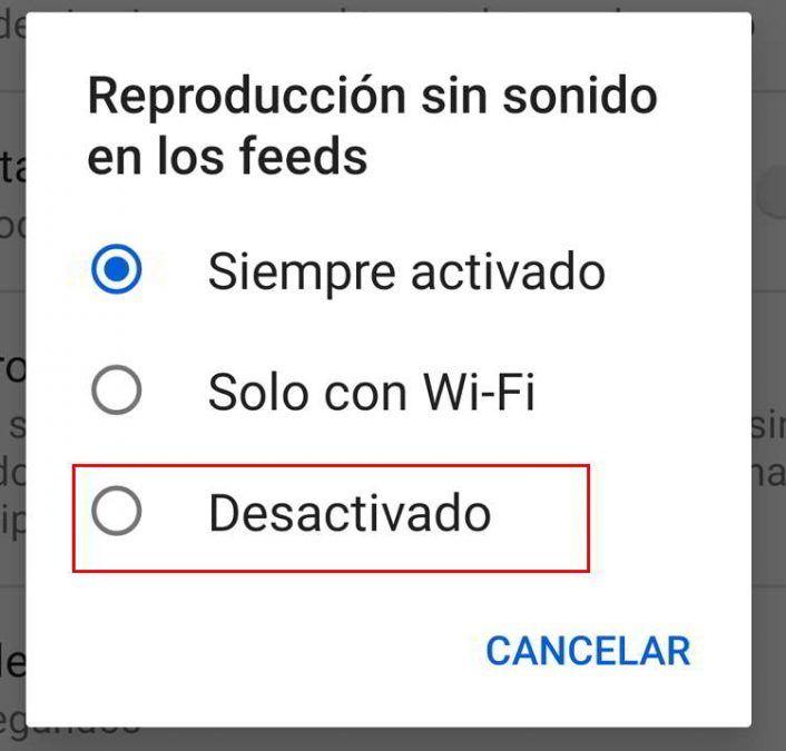 Seleccionar Desactivado