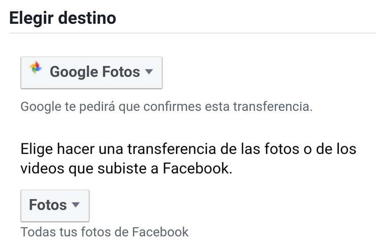 Elegir destino para pasar fotos de facebook a google fotos