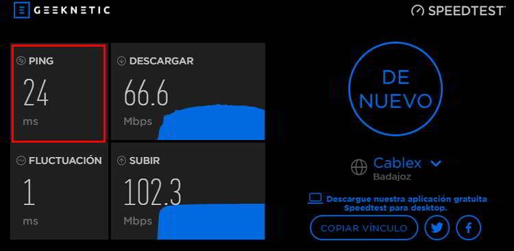 Datos del ping al realizar un test de velocidad de internet