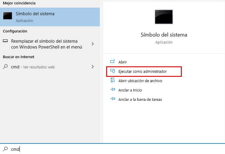 Utilizar buscar en Windows para abrir el símbolo de sistema como administrador