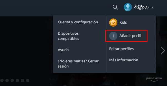 Acceder a través e la web para añadir nuevos perfiles de usuarios en Amazon Prime Video