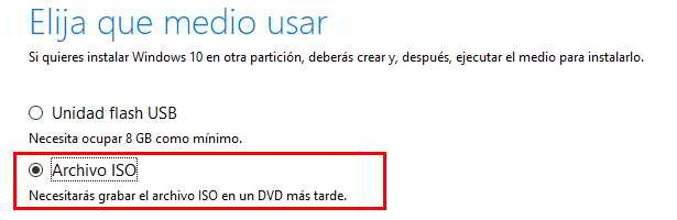 Elegir que medio usar para descargar Windows 10