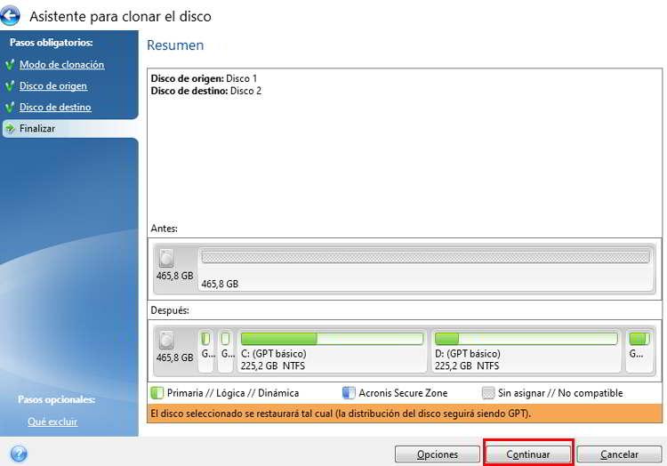 Finalizar la configuración de la copia del disco duro