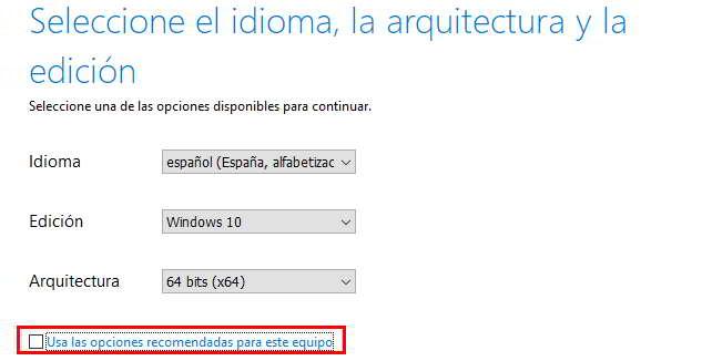 Idioma, arquitectura e instalación de Windows 10