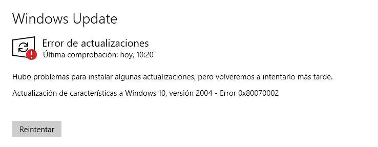 errores de actualización en Windows 10