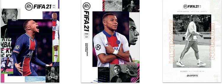 Portadas de las 3 ediciones Fifa 21