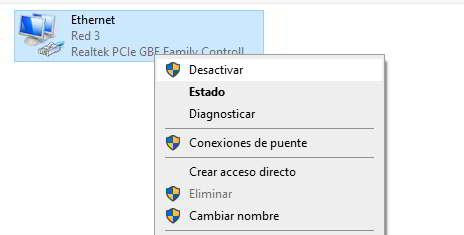 Opción para desactivar el adaptador de red en windows 10