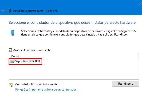 Windows 10 no reconoce un móvil android conectado