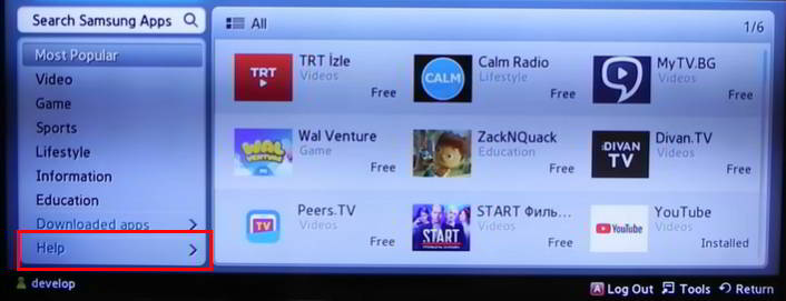 Pulsar en Help de Samsung Apps