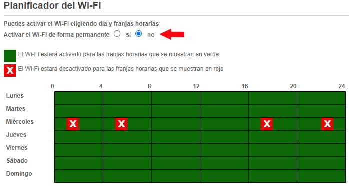 Opción para planificar un horario W-Fi en Livebox+