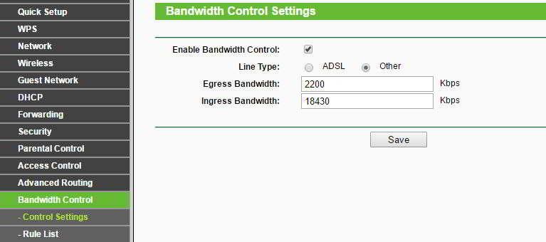 Bandwidth Control en un router Tp-Link