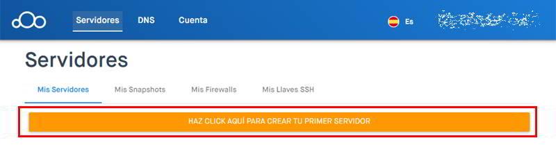 Haz clic en el botón para crear tu servidor VPS