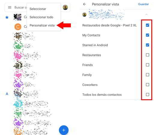 Personalizar la vista de los contactos