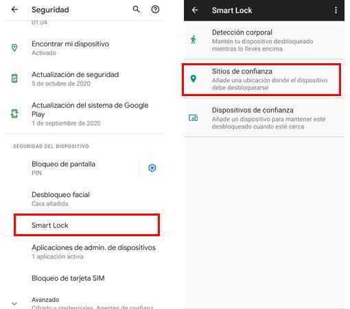 Smart Lock para desbloquear el móvil en sitios de confianza